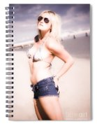 Young Attractive Travel Woman At Beach Spiral Notebook