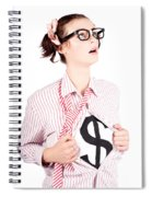 Young Businesswoman Super Hero Showing Dollar Sign Spiral Notebook