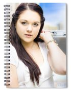 Young Pretty Business Travel Woman With Luggage Spiral Notebook