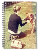 Young Woman In 20s Playing Fetch With Her Dog Spiral Notebook