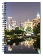 Skyline Of Uptown Charlotte North Carolina At Night Spiral Notebook