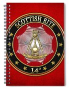 14th Degree - Perfect Elu Jewel On Red Leather Spiral Notebook
