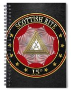 15th Degree - Knight Of The East Jewel On Black Leather Spiral Notebook