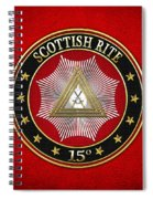 15th Degree - Knight Of The East Jewel On Red Leather Spiral Notebook