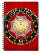16th Degree - Prince Of Jerusalem Jewel On Red Leather Spiral Notebook