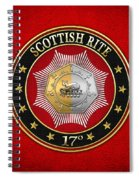 17th Degree - Knight Of The East And West Jewel On Red Leather Spiral Notebook