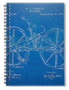1869 Velocipede Bicycle Patent Blueprint Spiral Notebook