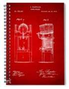 1876 Beer Keg Cooler Patent Artwork Red Spiral Notebook