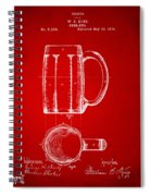 1876 Beer Mug Patent Artwork - Red Spiral Notebook