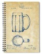 1876 Beer Mug Patent Artwork - Vintage Spiral Notebook