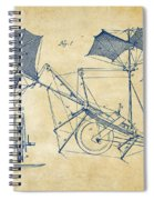 1879 Quinby Aerial Ship Patent Minimal - Vintage Spiral Notebook