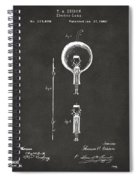 1880 Edison Electric Lamp Patent Artwork - Gray Spiral Notebook