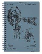 1889 Windmill On Blue Spiral Notebook