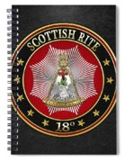 18th Degree - Knight Rose Croix Jewel On Black Leather Spiral Notebook