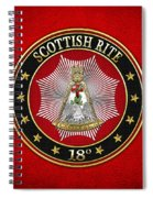 18th Degree - Knight Rose Croix Jewel On Red Leather Spiral Notebook