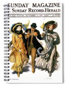 1900s Stylish Man With Two Women Spiral Notebook
