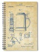 1914 Beer Stein Patent Artwork - Vintage Spiral Notebook