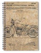 1928 Harley Davidson Motorcyle Patent Illustration Spiral Notebook