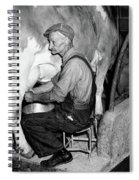 1930s 1940s Elderly Farmer In Overalls Spiral Notebook
