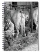 1930s 1940s Three Men Hand Milking Spiral Notebook