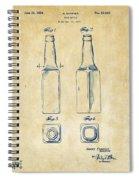 1934 Beer Bottle Patent Artwork - Vintage Spiral Notebook