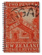 1935 Carved Maori House New Zealand Stamp Spiral Notebook