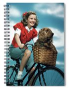 1940s 1950s Smiling Teen Girl Riding Spiral Notebook