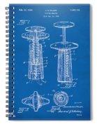 1944 Wine Corkscrew Patent Artwork - Blueprint Spiral Notebook