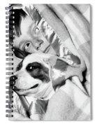 1950s Boy Hiding Under Blanket In Bed Spiral Notebook