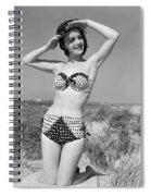 1950s Smiling Young Woman Kneeling Spiral Notebook