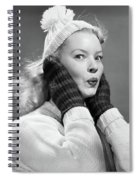 1950s Young Woman Pursing Lips Hands Spiral Notebook
