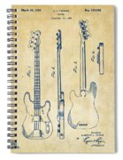1953 Fender Bass Guitar Patent Artwork - Vintage Spiral Notebook