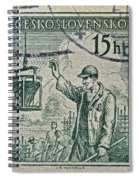 1954 Czechoslovakian Construction Worker Stamp Spiral Notebook