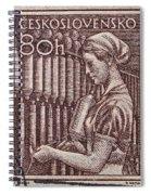 1954 Czechoslovakian Textile Worker Stamp Spiral Notebook