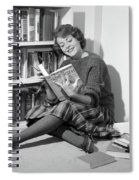 1960s Smiling Young Woman Teen Sitting Spiral Notebook
