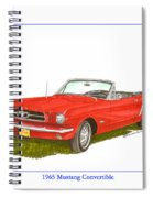1965 Ford Mustang Convertible Pony Car Spiral Notebook