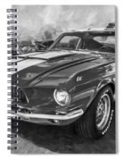 1967 Ford Shelby Mustang Gt500 Painted Bw Spiral Notebook
