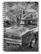 1968 Dodge Charger The Bullit Car Bw Spiral Notebook