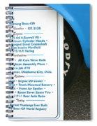 1970 Boss 429 Fact Placard Spiral Notebook