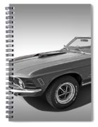 1970 Mach 1 Mustang 351 Cleveland In Black And White Spiral Notebook