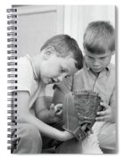 1970s Two Boys Seriously Inspecting New Spiral Notebook