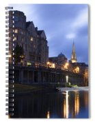 Bath City Spa Viewed Over The River Avon At Night Spiral Notebook
