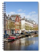 Boats On Amsterdam Canal Spiral Notebook