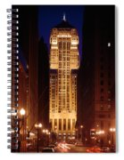 Buildings Lit Up At Night, Chicago Spiral Notebook