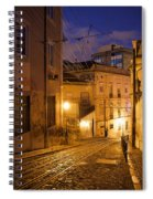 Calcada Da Gloria Street At Night In Lisbon Spiral Notebook