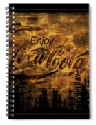 Coca Cola Wooden Sign Spiral Notebook