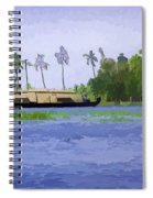 Digital Oil Painting - A Houseboat On Its Quiet Sojourn Through The Backwaters Spiral Notebook