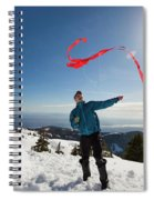 Flying A Kite On A Snowy Mountain Spiral Notebook