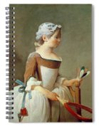 Girl With Racket And Shuttlecock Spiral Notebook