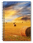 Golden Sunset Over Farm Field With Hay Bales Spiral Notebook